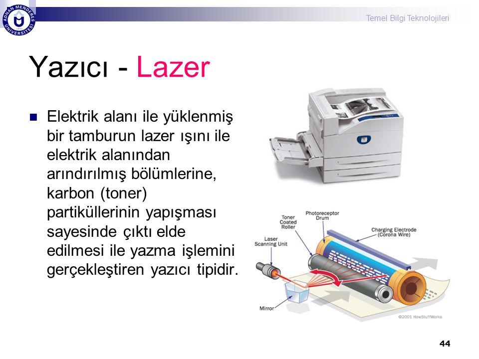 Temel Bilgi Teknolojileri 44 Yazıcı - Lazer  Elektrik alanı ile yüklenmiş bir tamburun lazer ışını ile elektrik alanından arındırılmış bölümlerine, k
