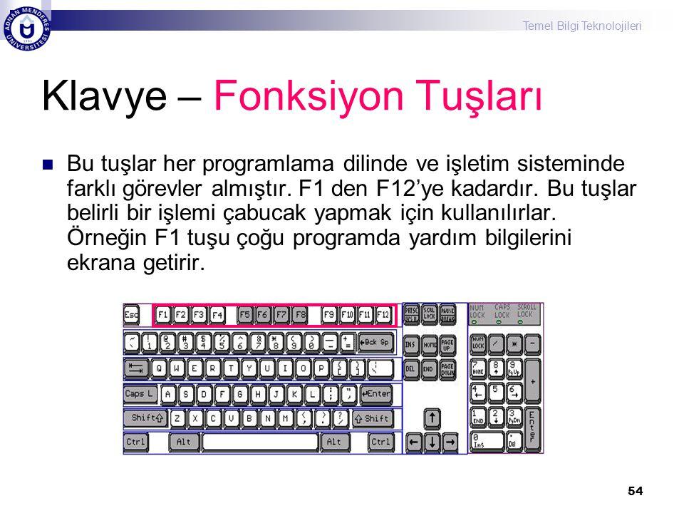 Temel Bilgi Teknolojileri 54 Klavye – Fonksiyon Tuşları  Bu tuşlar her programlama dilinde ve işletim sisteminde farklı görevler almıştır. F1 den F12