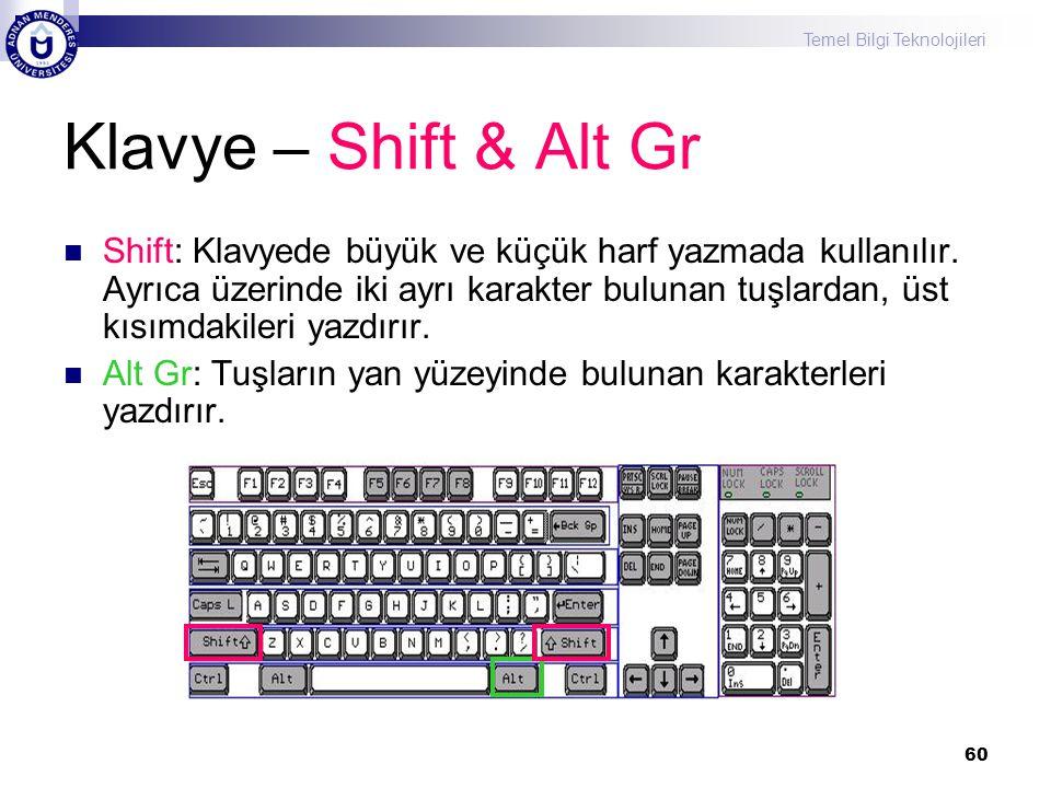 Temel Bilgi Teknolojileri 60 Klavye – Shift & Alt Gr  Shift: Klavyede büyük ve küçük harf yazmada kullanılır. Ayrıca üzerinde iki ayrı karakter bulun