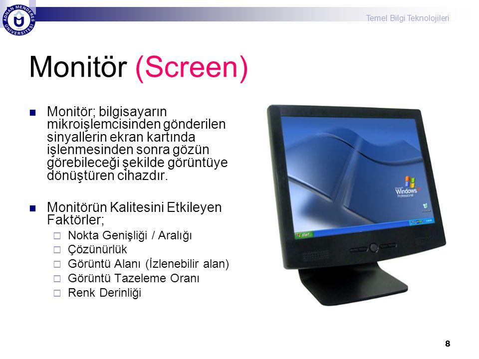 Temel Bilgi Teknolojileri 9 Monitör – Nokta Genişliği  Ekranda görünen şekil, dikey(sütun) ve yatay (satır) üzerindeki kırmızı, yeşil ve mavi noktalardan oluşur, bunların her birine pixel denir.