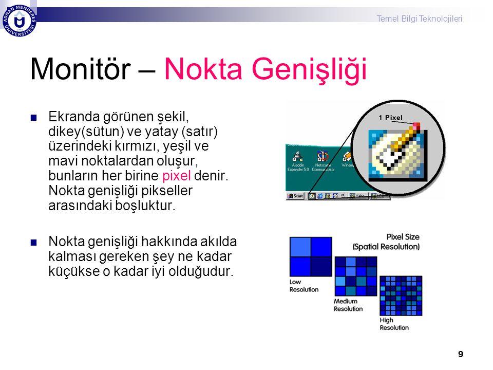 Temel Bilgi Teknolojileri 9 Monitör – Nokta Genişliği  Ekranda görünen şekil, dikey(sütun) ve yatay (satır) üzerindeki kırmızı, yeşil ve mavi noktala