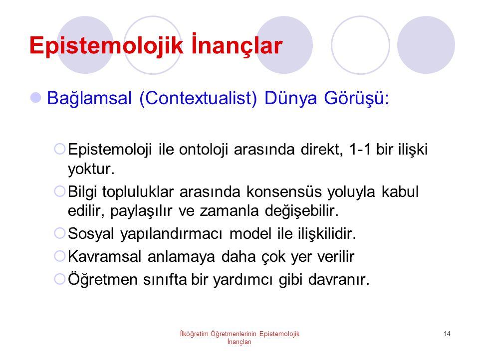 İlköğretim Öğretmenlerinin Epistemolojik İnançları 14 Epistemolojik İnançlar  Bağlamsal (Contextualist) Dünya Görüşü:  Epistemoloji ile ontoloji arasında direkt, 1-1 bir ilişki yoktur.
