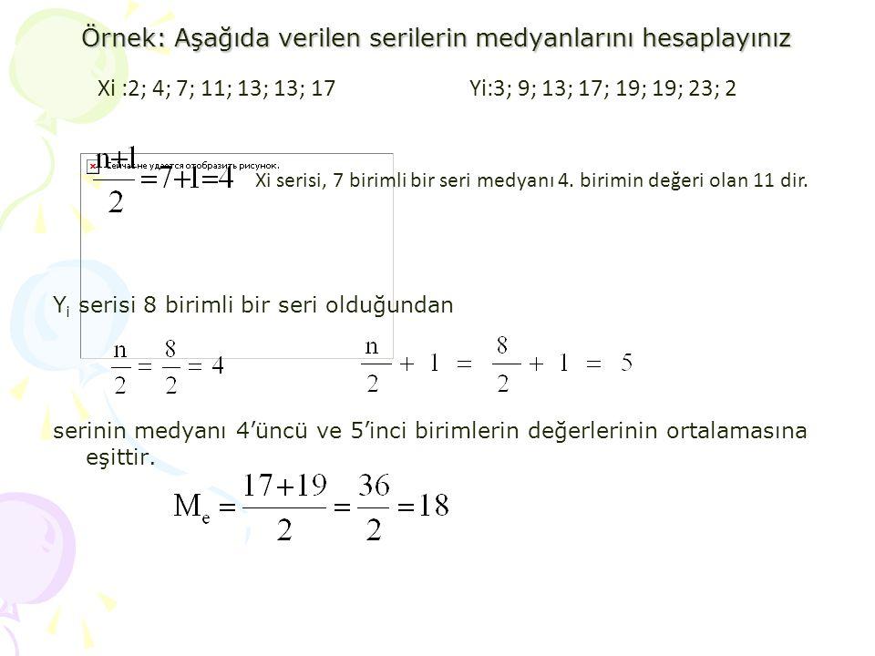 Örnek: Aşağıda verilen serilerin medyanlarını hesaplayınız Y i serisi 8 birimli bir seri olduğundan serinin medyanı 4'üncü ve 5'inci birimlerin değerl