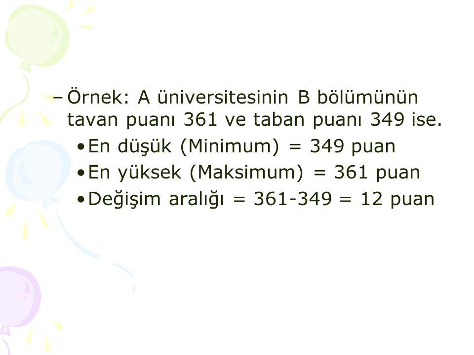 –Örnek: A üniversitesinin B bölümünün tavan puanı 361 ve taban puanı 349 ise. •En düşük (Minimum) = 349 puan •En yüksek (Maksimum) = 361 puan •Değişim