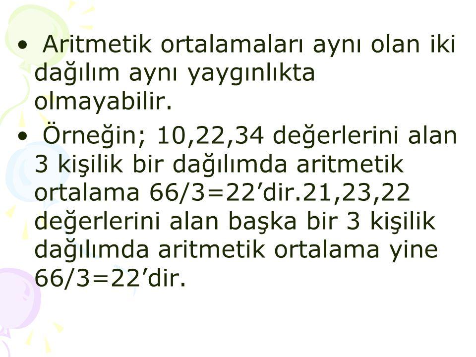 • Aritmetik ortalamaları aynı olan iki dağılım aynı yaygınlıkta olmayabilir. • Örneğin; 10,22,34 değerlerini alan 3 kişilik bir dağılımda aritmetik or