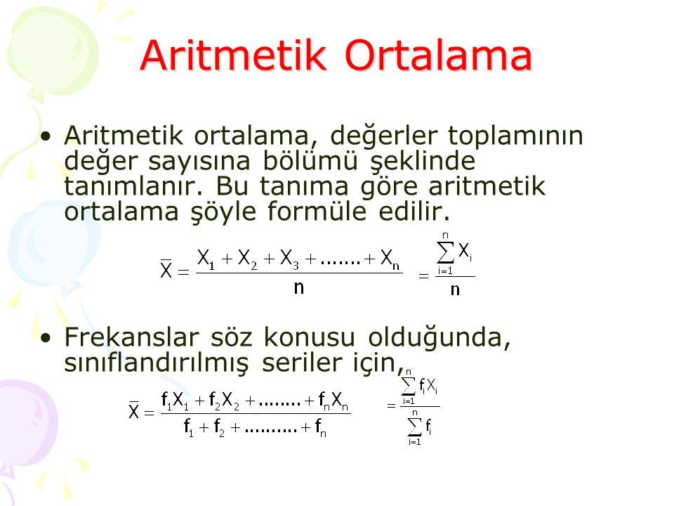 •Aritmetik ortalama, değerler toplamının değer sayısına bölümü şeklinde tanımlanır. Bu tanıma göre aritmetik ortalama şöyle formüle edilir. •Frekansla