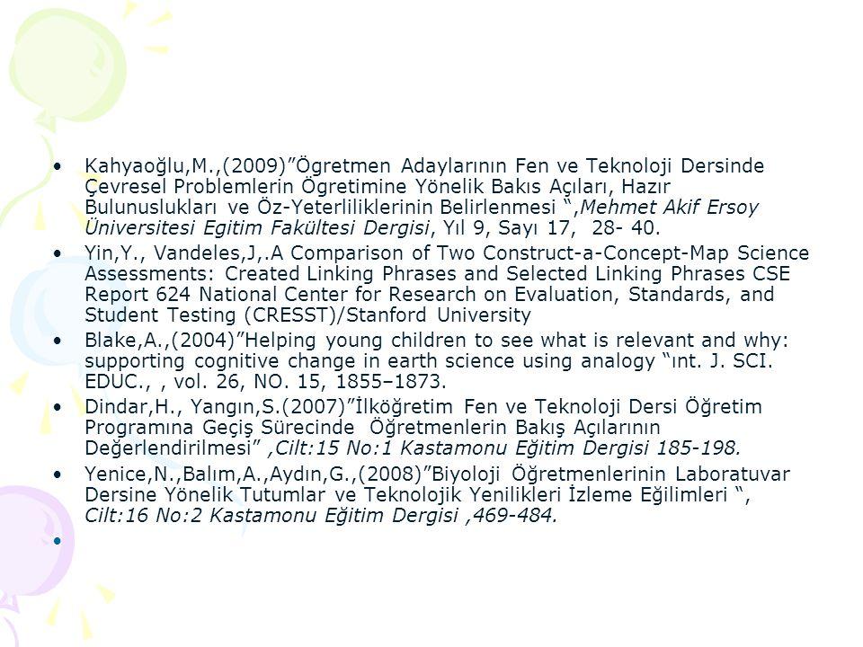 """•Kahyaoğlu,M.,(2009)""""Ögretmen Adaylarının Fen ve Teknoloji Dersinde Çevresel Problemlerin Ögretimine Yönelik Bakıs Açıları, Hazır Bulunuslukları ve Öz"""