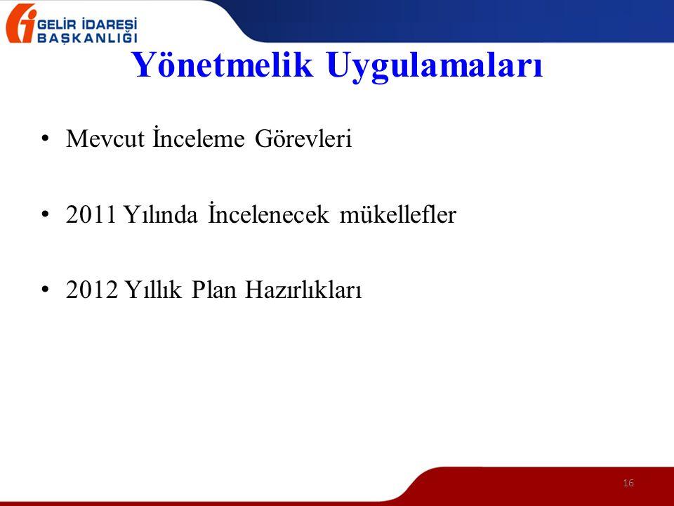 16 Yönetmelik Uygulamaları • Mevcut İnceleme Görevleri • 2011 Yılında İncelenecek mükellefler • 2012 Yıllık Plan Hazırlıkları