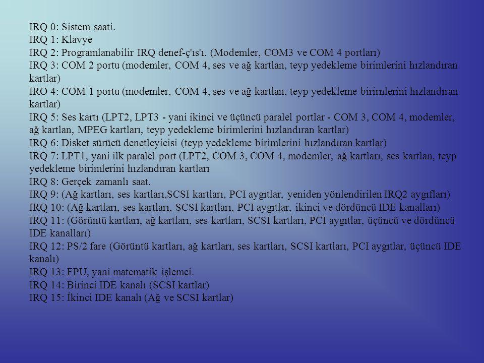 IRQ 0: Sistem saati.IRQ 1: Klavye IRQ 2: Programlanabilir IRQ denef-ç ıs ı.