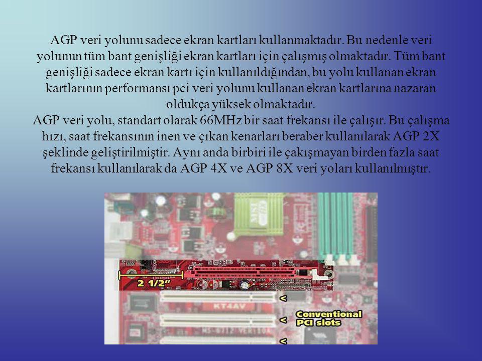 AGP veri yolunu sadece ekran kartları kullanmaktadır.