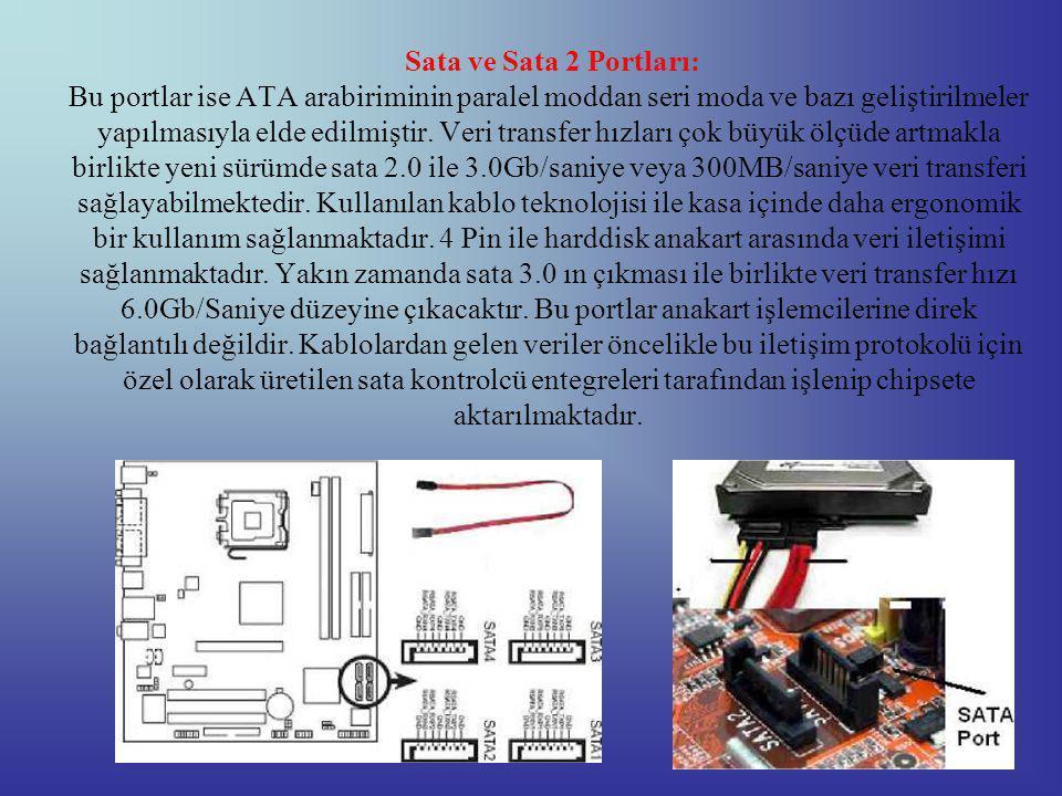 Sata ve Sata 2 Portları: Bu portlar ise ATA arabiriminin paralel moddan seri moda ve bazı geliştirilmeler yapılmasıyla elde edilmiştir.