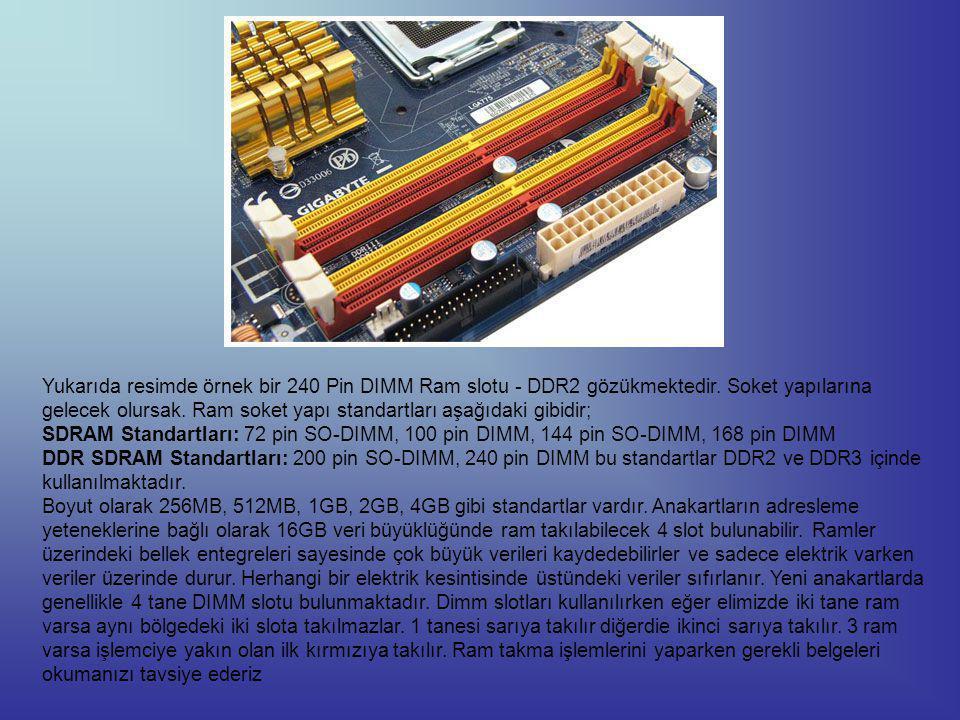 Yukarıda resimde örnek bir 240 Pin DIMM Ram slotu - DDR2 gözükmektedir.