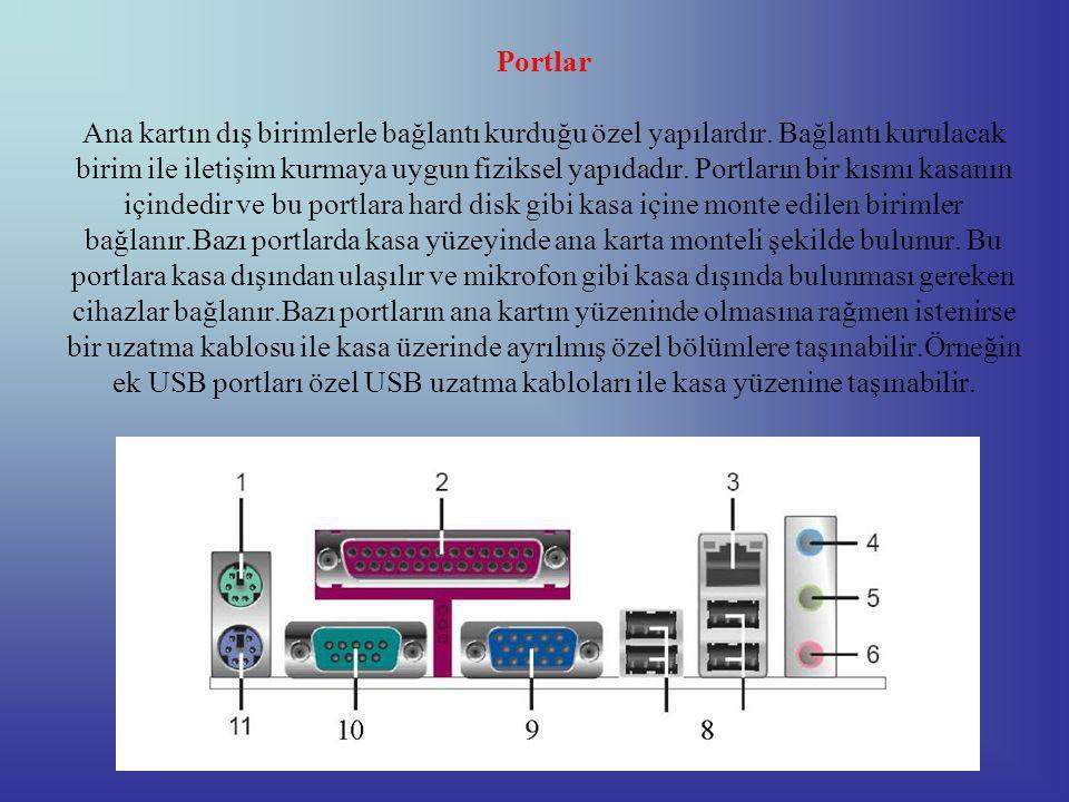 Portlar Ana kartın dış birimlerle bağlantı kurduğu özel yapılardır.