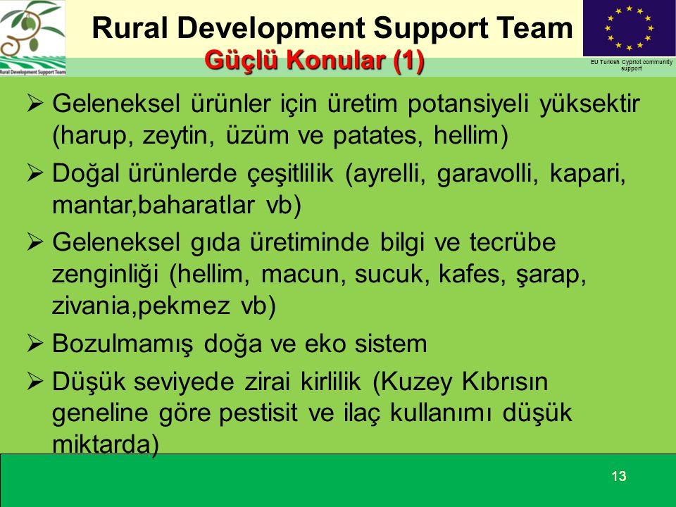 Rural Development Support Team EU Turkish Cypriot community support 13 Güçlü Konular (1)  Geleneksel ürünler için üretim potansiyeli yüksektir (harup