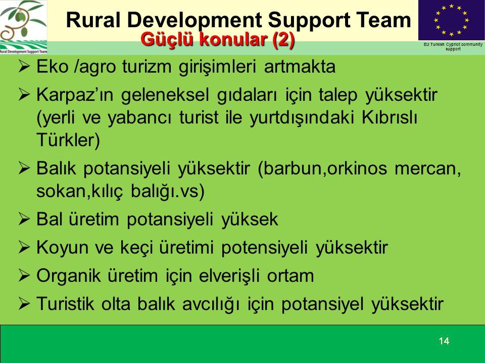 Rural Development Support Team EU Turkish Cypriot community support 14 Güçlü konular (2)  Eko /agro turizm girişimleri artmakta  Karpaz'ın gelenekse