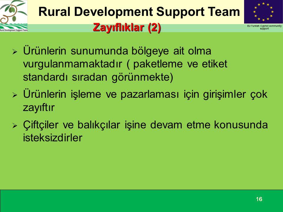 Rural Development Support Team EU Turkish Cypriot community support 16 Zayıflıklar (2)  Ürünlerin sunumunda bölgeye ait olma vurgulanmamaktadır ( pak