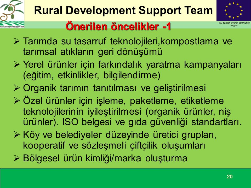 Rural Development Support Team EU Turkish Cypriot community support 20 Önerilen öncelikler -1  Tarımda su tasarruf teknolojileri,kompostlama ve tarım