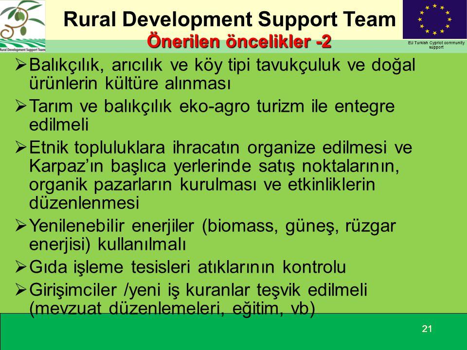 Rural Development Support Team EU Turkish Cypriot community support 21 Önerilen öncelikler -2  Balıkçılık, arıcılık ve köy tipi tavukçuluk ve doğal ü