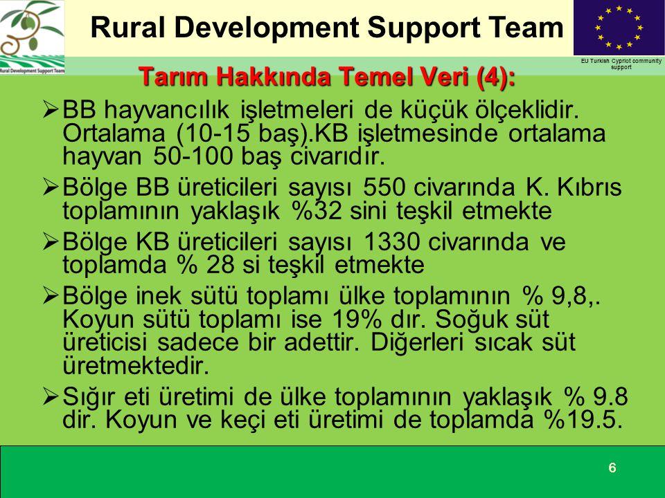 Rural Development Support Team EU Turkish Cypriot community support 66 Tarım Hakkında Temel Veri (4):  BB hayvancılık işletmeleri de küçük ölçeklidir