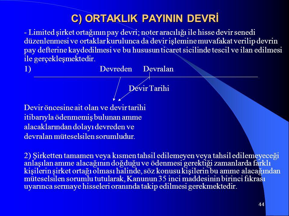 44 C) ORTAKLIK PAYININ DEVRİ - Limited şirket ortağının pay devri; noter aracılığı ile hisse devir senedi düzenlenmesi ve ortaklar kurulunca da devir