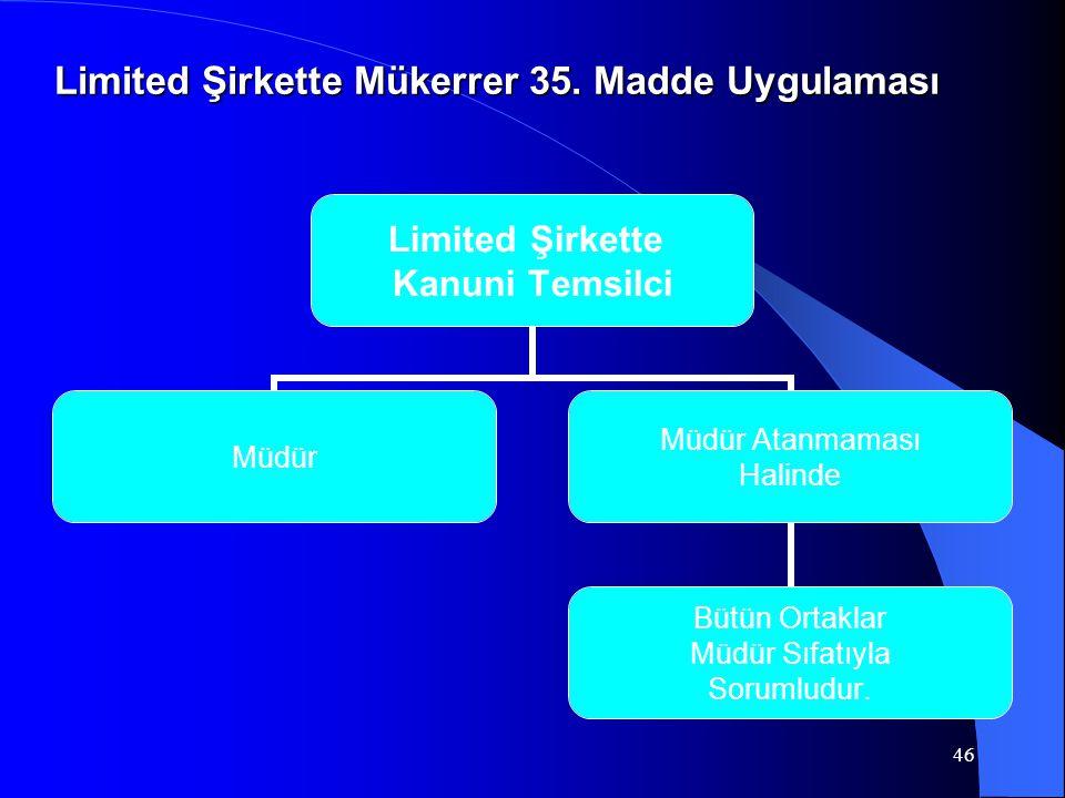 46 Limited Şirkette Kanuni Temsilci Müdür Müdür Atanmaması Halinde Bütün Ortaklar Müdür Sıfatıyla Sorumludur. Limited Şirkette Mükerrer 35. Madde Uygu