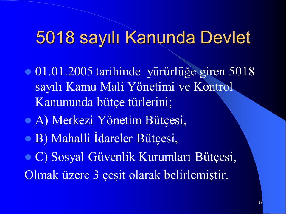 6 5018 sayılı Kanunda Devlet  01.01.2005 tarihinde yürürlüğe giren 5018 sayılı Kamu Mali Yönetimi ve Kontrol Kanununda bütçe türlerini;  A) Merkezi