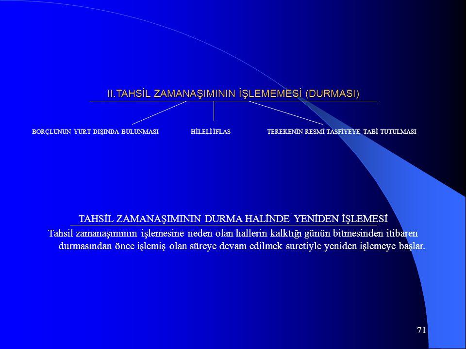 71 II.TAHSİL ZAMANAŞIMININ İŞLEMEMESİ (DURMASI) TAHSİL ZAMANAŞIMININ DURMA HALİNDE YENİDEN İŞLEMESİ Tahsil zamanaşımının işlemesine neden olan halleri