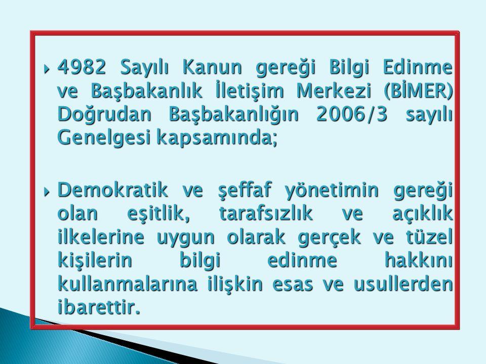  4982 Sayılı Kanun gereği Bilgi Edinme ve Başbakanlık İletişim Merkezi (BİMER) Doğrudan Başbakanlığın 2006/3 sayılı Genelgesi kapsamında;  Demokrati