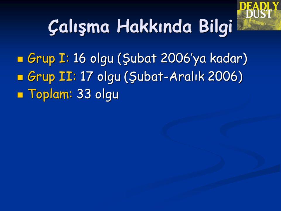 Çalışma Hakkında Bilgi  Grup I: 16 olgu (Şubat 2006'ya kadar)  Grup II: 17 olgu (Şubat-Aralık 2006)  Toplam: 33 olgu