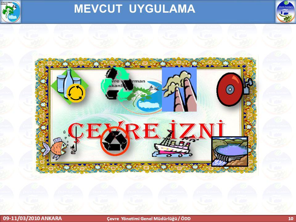 MEVCUT UYGULAMA 09-11/03/2010 ANKARA 10 Çevre Yönetimi Genel Müdürlüğü / ÖDD