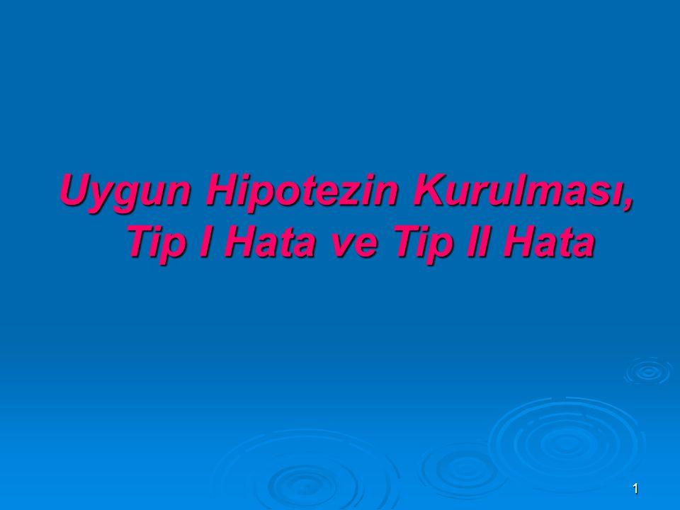1 Uygun Hipotezin Kurulması, Tip I Hata ve Tip II Hata