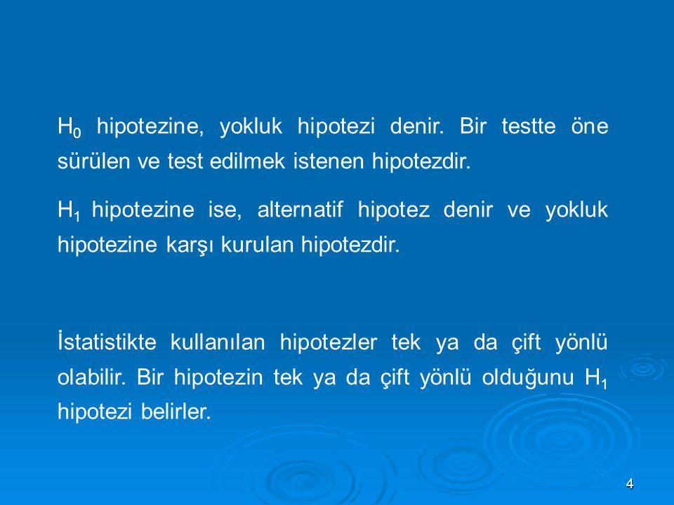 4 H 0 hipotezine, yokluk hipotezi denir. Bir testte öne sürülen ve test edilmek istenen hipotezdir. H 1 hipotezine ise, alternatif hipotez denir ve yo