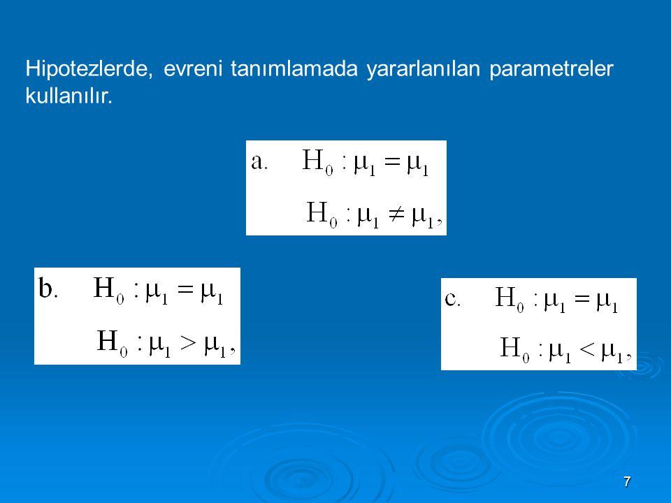 7 Hipotezlerde, evreni tanımlamada yararlanılan parametreler kullanılır.