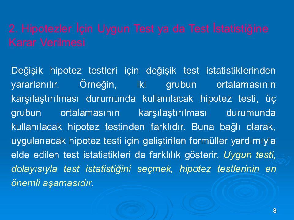 8 2. Hipotezler İçin Uygun Test ya da Test İstatistiğine Karar Verilmesi Değişik hipotez testleri için değişik test istatistiklerinden yararlanılır. Ö