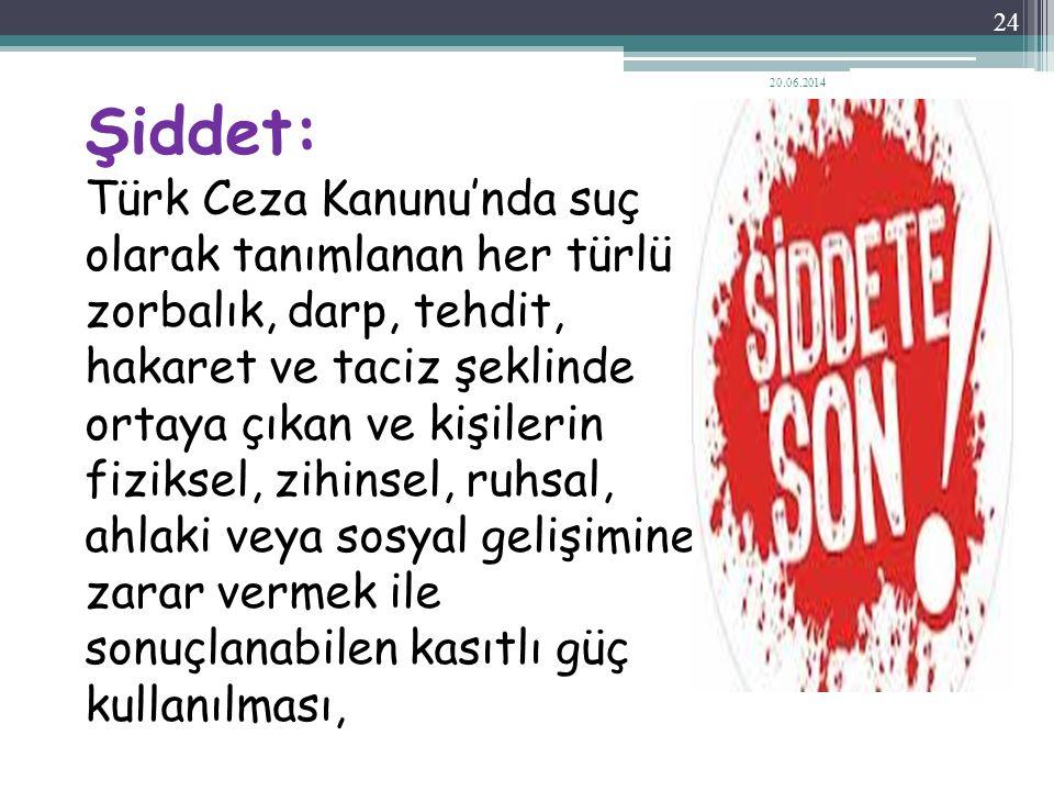 Şiddet: Türk Ceza Kanunu'nda suç olarak tanımlanan her türlü zorbalık, darp, tehdit, hakaret ve taciz şeklinde ortaya çıkan ve kişilerin fiziksel, zih