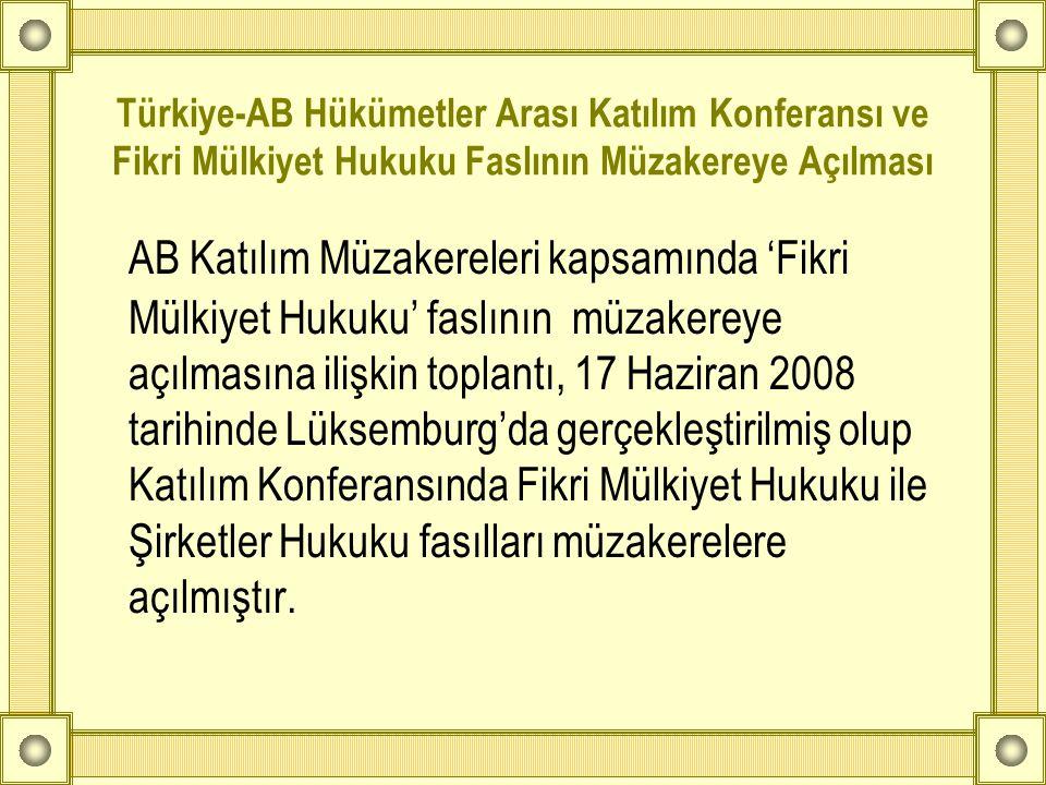 Türkiye-AB Hükümetler Arası Katılım Konferansı ve Fikri Mülkiyet Hukuku Faslının Müzakereye Açılması AB Katılım Müzakereleri kapsamında 'Fikri Mülkiye