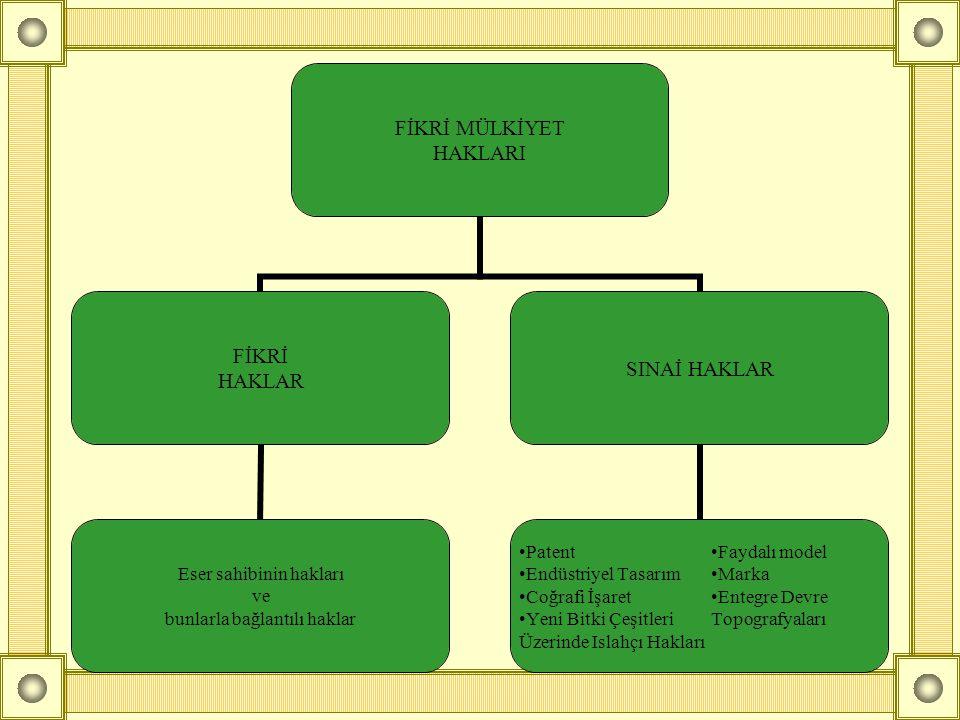 FİKRİ MÜLKİYET HAKLARI FİKRİ HAKLAR Eser sahibinin hakları ve bunlarla bağlantılı haklar SINAİ HAKLAR •Patent •Faydalı model •Endüstriyel Tasarım•Mark
