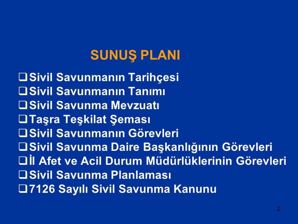 2 SUNUŞ PLANI  Sivil Savunmanın Tarihçesi  Sivil Savunmanın Tanımı  Sivil Savunma Mevzuatı  Taşra Teşkilat Şeması  Sivil Savunmanın Görevleri  S