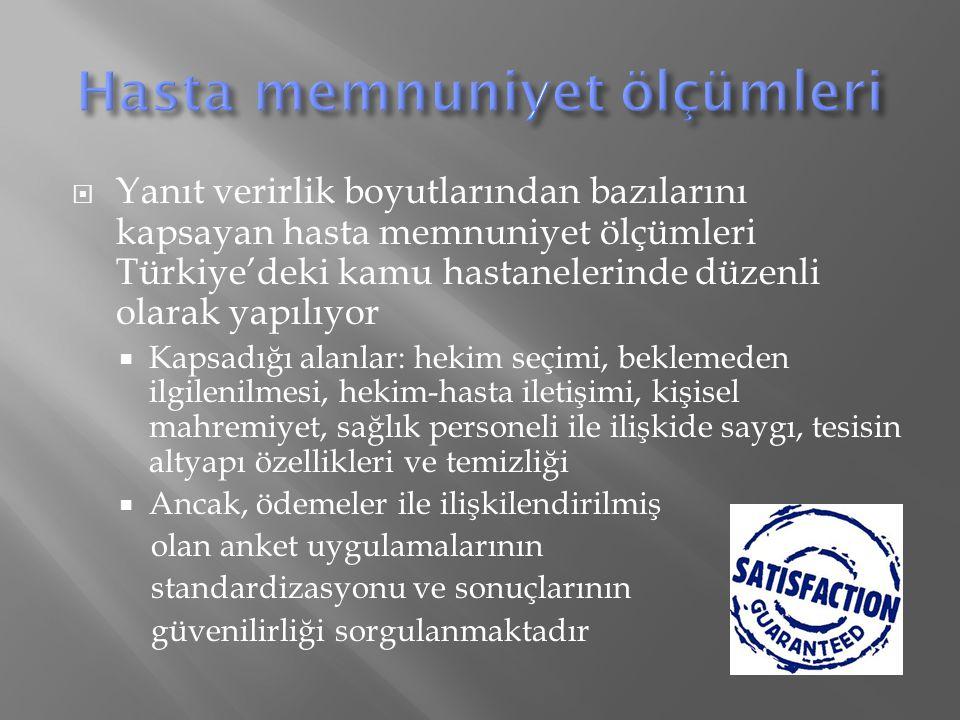  Yanıt verirlik boyutlarından bazılarını kapsayan hasta memnuniyet ölçümleri Türkiye'deki kamu hastanelerinde düzenli olarak yapılıyor  Kapsadığı alanlar: hekim seçimi, beklemeden ilgilenilmesi, hekim-hasta iletişimi, kişisel mahremiyet, sağlık personeli ile ilişkide saygı, tesisin altyapı özellikleri ve temizliği  Ancak, ödemeler ile ilişkilendirilmiş olan anket uygulamalarının standardizasyonu ve sonuçlarının güvenilirliği sorgulanmaktadır