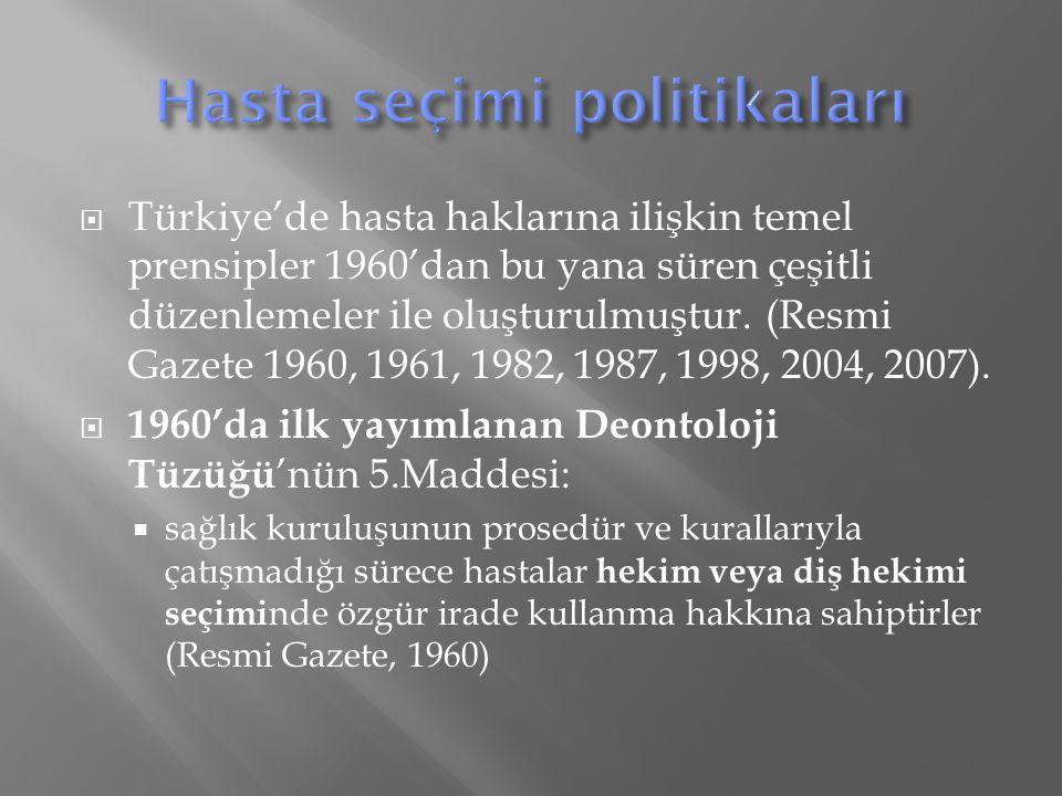 Türkiye'de hasta haklarına ilişkin temel prensipler 1960'dan bu yana süren çeşitli düzenlemeler ile oluşturulmuştur.