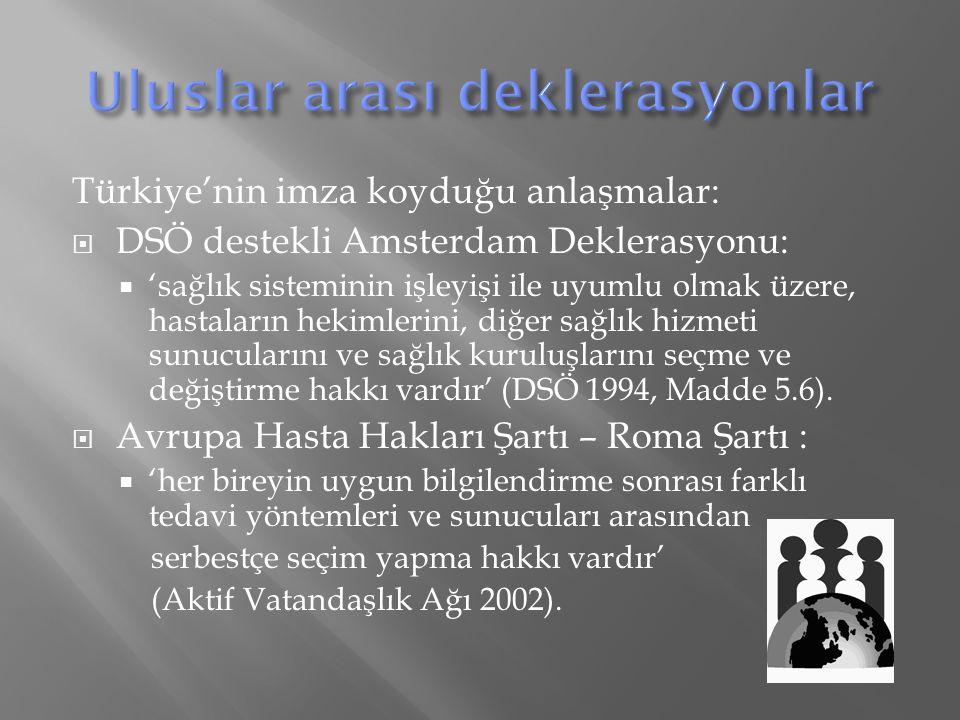 Türkiye'nin imza koyduğu anlaşmalar:  DSÖ destekli Amsterdam Deklerasyonu:  'sağlık sisteminin işleyişi ile uyumlu olmak üzere, hastaların hekimlerini, diğer sağlık hizmeti sunucularını ve sağlık kuruluşlarını seçme ve değiştirme hakkı vardır' (DSÖ 1994, Madde 5.6).
