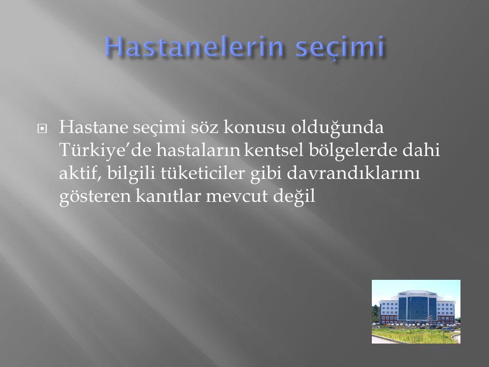  Hastane seçimi söz konusu olduğunda Türkiye'de hastaların kentsel bölgelerde dahi aktif, bilgili tüketiciler gibi davrandıklarını gösteren kanıtlar mevcut değil