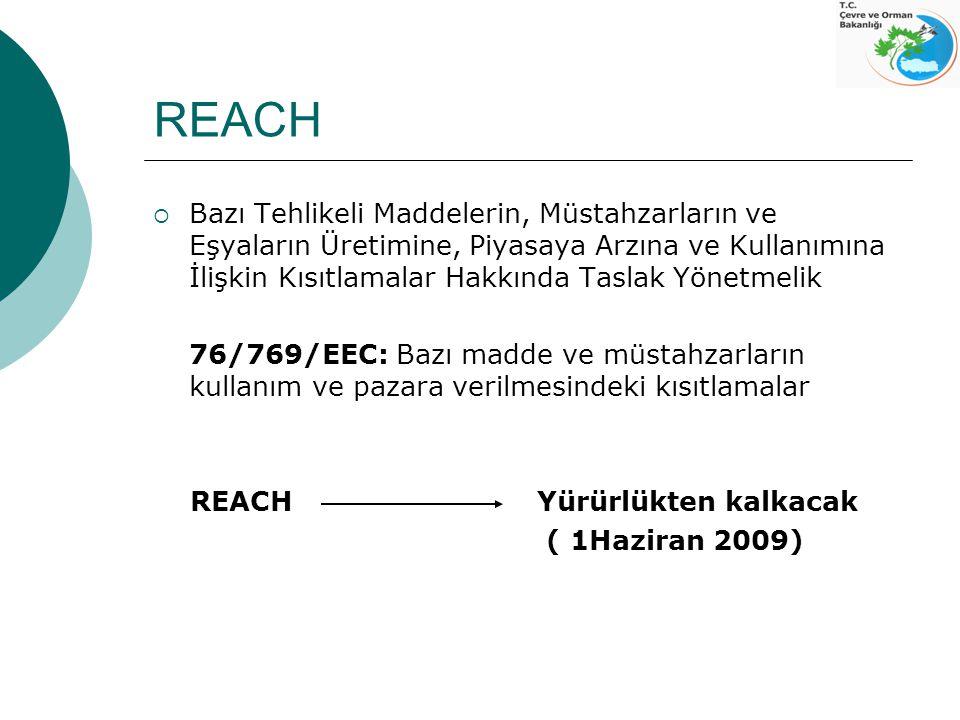 REACH  Bazı Tehlikeli Maddelerin, Müstahzarların ve Eşyaların Üretimine, Piyasaya Arzına ve Kullanımına İlişkin Kısıtlamalar Hakkında Taslak Yönetmel