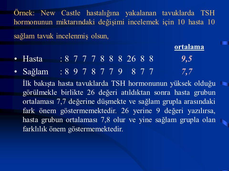 Örnek: New Castle hastalığına yakalanan tavuklarda TSH hormonunun miktarındaki değişimi incelemek için 10 hasta 10 sağlam tavuk incelenmiş olsun, orta