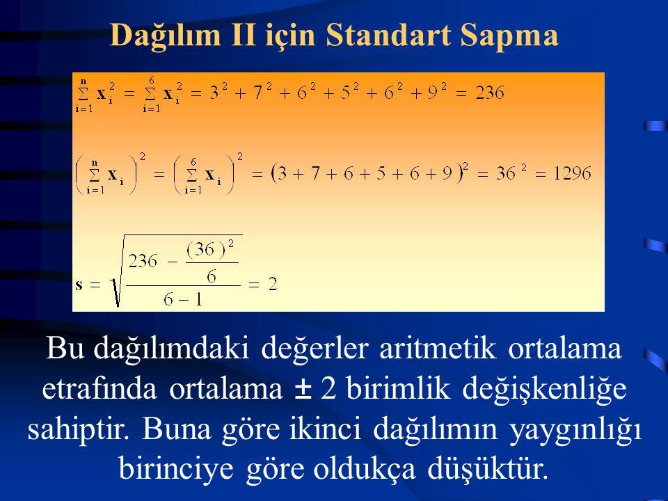 Dağılım II için Standart Sapma Bu dağılımdaki değerler aritmetik ortalama etrafında ortalama ± 2 birimlik değişkenliğe sahiptir. Buna göre ikinci dağı