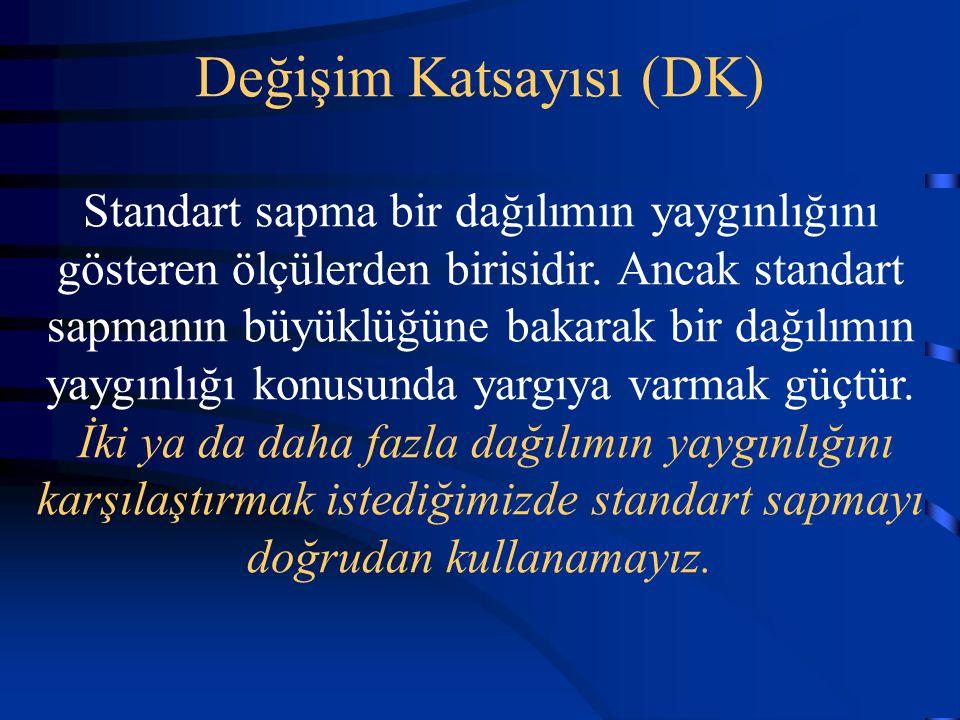 Değişim Katsayısı (DK) Standart sapma bir dağılımın yaygınlığını gösteren ölçülerden birisidir. Ancak standart sapmanın büyüklüğüne bakarak bir dağılı