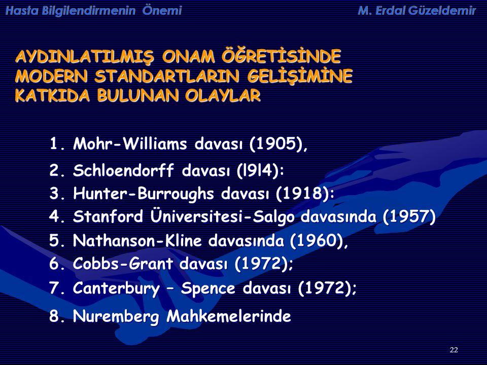 22 AYDINLATILMIŞ ONAM ÖĞRETİSİNDE MODERN STANDARTLARIN GELİŞİMİNE KATKIDA BULUNAN OLAYLAR 1. Mohr-Williams davası (1905), 2. Schloendorff davası (l9l4