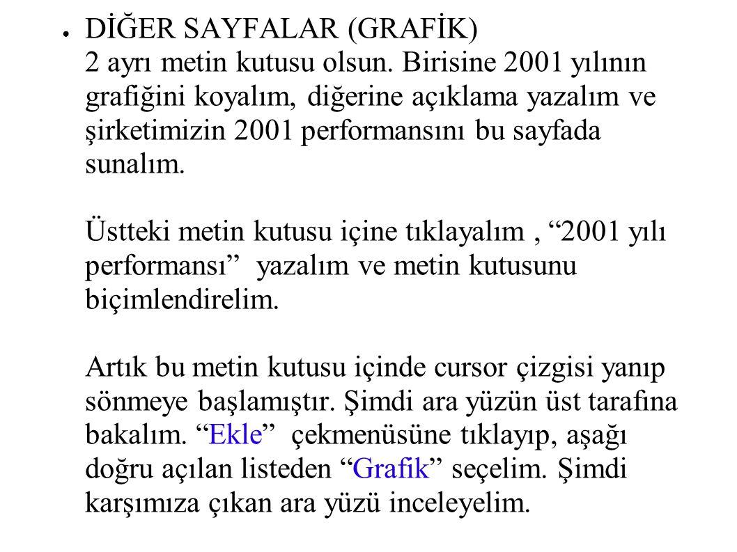 ● DİĞER SAYFALAR (GRAFİK) 2 ayrı metin kutusu olsun. Birisine 2001 yılının grafiğini koyalım, diğerine açıklama yazalım ve şirketimizin 2001 performan