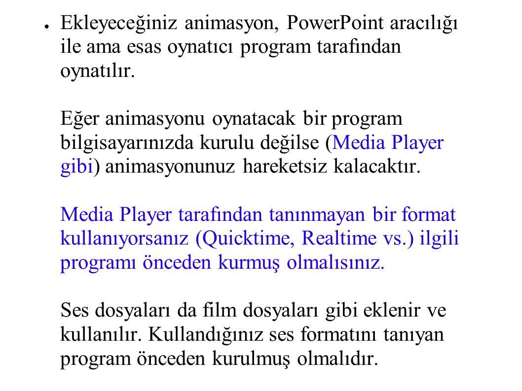 ● Ekleyeceğiniz animasyon, PowerPoint aracılığı ile ama esas oynatıcı program tarafından oynatılır. Eğer animasyonu oynatacak bir program bilgisayarın