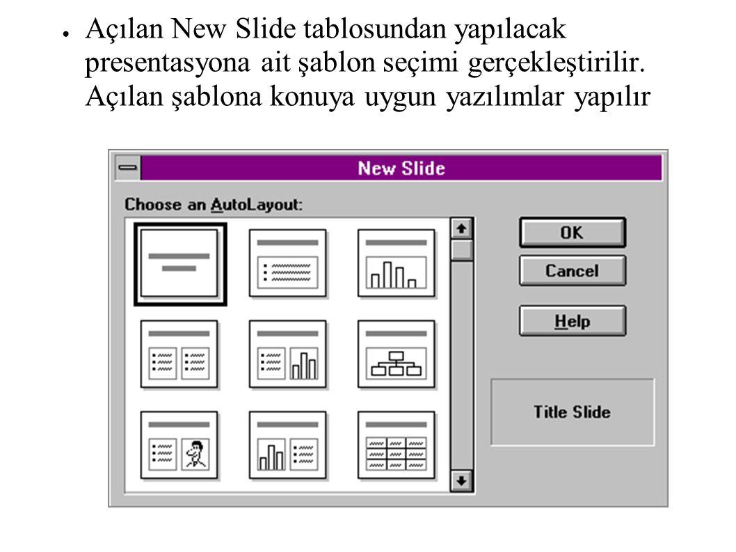 ● Açılan New Slide tablosundan yapılacak presentasyona ait şablon seçimi gerçekleştirilir. Açılan şablona konuya uygun yazılımlar yapılır
